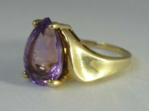 Stunning & Unusual Large Madagascan Amethyst & 9K Gold Ring Size N 1/2