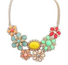 Gold Decorative Colourful Pink Blue Floral Fashion Jewellery Necklace