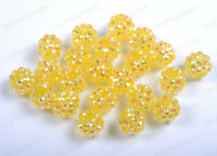 FREE SHIP 12MM U PICK 20pcs Disco Ball AB Acrylicresin Rhinestones Charms Beads