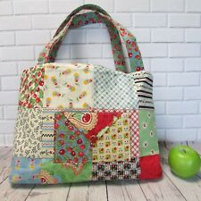 Patchwork Purse Tote Bag CHERRIES Print Cotton Fabric Bright Colors