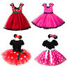 Baby Girl Minnie Mouse Bow Dots Dress Tutu Skirt Princess Birthday Party Dresses