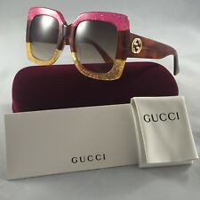 Gucci GG0083S 002 Glitter Pink-Yellow With Brown Gradient Lenses 55MM Sunglasses