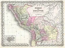 1855 COLTON MAP PERU AND BOLIVIA VINTAGE REPRO POSTER ART PICTURE 2911PYLV