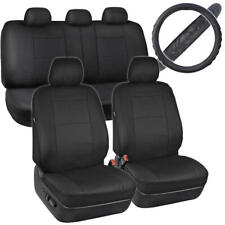 Black PU Leather Seat Covers & Steering Wheel Cover Set Non-Slip Grip Auto Truck
