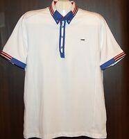 Mondo White Blue Red Lining Cotton Men's Polo Shirt Size 3XL NEW