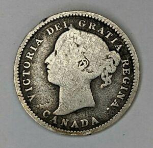 1893 Flat - Top 3 Canada Silver 10 Cents Circ - 180415V