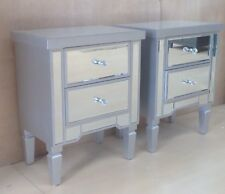 Pair of Valetta Mirrored Silver Wood 2 Drawer bedside chest- FULLY ASSEMBLED