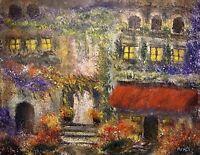 Italian Villa 11x14 Original Hand Painted Watercolor Painting By Joe Menza