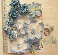 BLUE & WHITE Co-ordinating Mix - 11 Paper Flowers 5 Styles 20-55mm across VA6