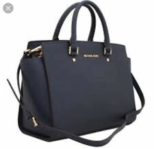 02dee6c2661e7e Michael Kors Selma Saffiano Satchel In Navy Blue With Dust Bag!