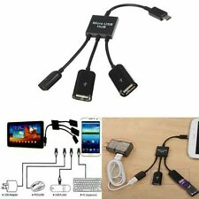 3in1 Micro USB HUB Macho a Hembra Y Doble Usb 2.0 Host OTG Cable adaptador-otga