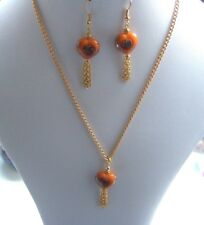 "17"" Gold Plated Chain Necklace & Earring Set with Orange Glass Heart Beads"