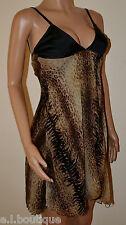 VICKY MARTIN leopard print black silk fishtail dress babydoll 8 10 BNWT RRP £185