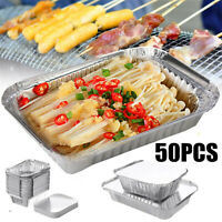 50PCS Aluminum Foil rays BBQ Disposable Food Container Baking Pan With