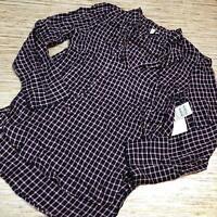JJ-30 T & B Treasure & Bond fig hound Gingham blouse BURGUNDY size M new
