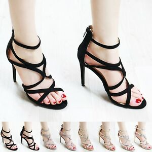 New Womens Ladies Caged High Heel Sandals Stiletto Ankle Strap Evening Out Shoes