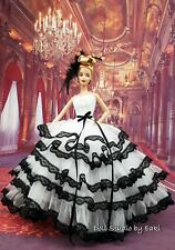 White Black Ball Gown Evening Dress Outfit Barbie Silkstone Fashion Royalty FR