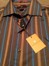 Toscano Men's Dress Shirt SZ L L/S Brown Blue White Tan Stripes NWT
