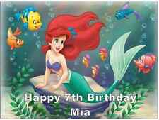 Little Mermaid Disney Princesa Personalizado Cake Topper Comestible Oblea Papel A4