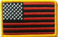USA FLAG RED & BLACK Flag Patch With VELCRO® Brand Fastener Gold Border