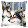 Wolves  Large Holed Printed Tapestry Canvas Cushion Kit - Chunky Cross Stitch