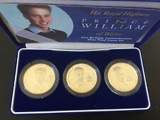 2003 Royal Mint Prince William 21st Birthday 3 X £5 Silver Proof Crown Coin Sent