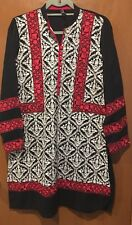 EUC Orchid Small Black Embroidered Red Cream Kurta Kameez Top