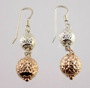 Milor Italy 925 Sterling Silver Faceted Dangling Ball Earrings Rose Gold Gilded