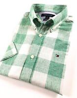 TOMMY HILFIGER Shirt Men's Short Sleeve Linen Blend Green Checks Custom Fit