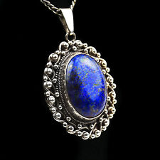 Pendant Silver Ladies Nepal Lapis Lazuli 925 Decorated Gemstone Sterling T31