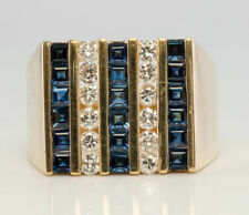 Mens Diamond Sapphire Ring 18K Gold Band