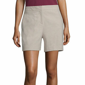"Worthington Women's High Rise Midi Shorts Size 8 Khaki White Stripe 5"" Inseam"