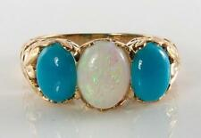 LARGE 9CT 9K GOLD AUS OPAL  PERSIAN TURQUOISE ART DECO INS TRILOGY RING FREE Sz
