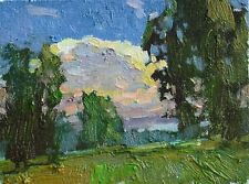 Warm evening forest landscape summer by S. AVDEEV Original oil Painting RUSSIA