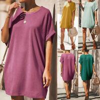 Women's Summer Short Sleeve Casual Loose Sundress Tunic Tops Mini T-shirt Dress