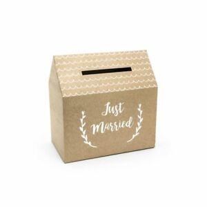 Wedding Card Postbox Just Married Rustic Kraft Brown