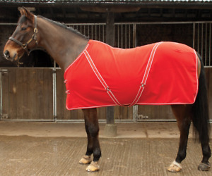 Rhinegold Comfey Fleece Horse Rug - Travel Stable Layering - Red 6' 6'3 6'6