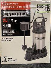 Everbilt 1/2 HP Submersible Sump Pump ( 1000026682 ) ... FREE SHIPPING ...