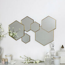 Gold hexagon wall mirror decorative modern art deco contemporary wall art decor