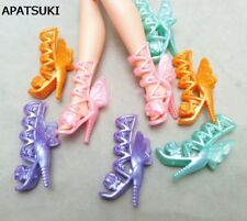 5pairs Fashion Butterfly Wings High-Heel Shoes Boots For Barbie Doll Shoes Toy
