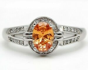 1CT Padparadscha Sapphire & Topaz 925 Sterling Silver Ring Jewelry Sz 7 UC6