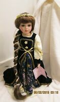 Kinnex International Inc. Porcelain Doll Claire with Stand and COE Long Hair 16""