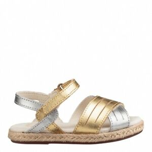 UGG Girls Addilyn Sandals Metallic Silver Gold Little Kid Size 9 New With Box