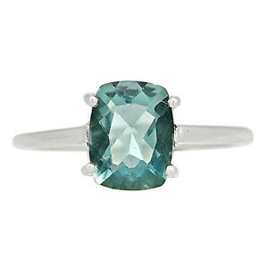 Faceted Belgian Teal Fluorite 925 Sterling Silver Ring Jewelry s.7 ALLR-3561