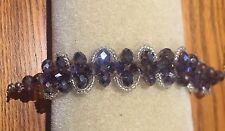 Stunning Amethyst Purple & Clear Glass Crystal Beaded Bracelet