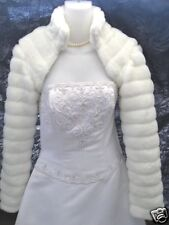 WHITE Faux Fur Bolero Jacket Coat Wrap Bridal XS-XXL