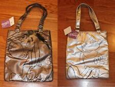 DISNEY MICKEY MOUSE SILVER METALLIC TOTE BAG + EEYORE PEWTER TOTE LOT *SCHOOL*