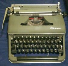 Vintage Olympia DeLuxe Portable Typewriter With Case Green & Black Keys 1958