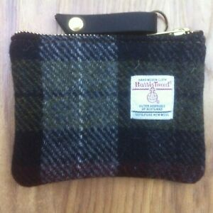red Harris tweed purse, cosmetic case, plaid pouch, gift for he,r tartan pouch