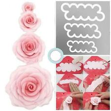HOT 3Pcs The Easiest Rose Ever Cutter Fondant Icing Mold Hot sell